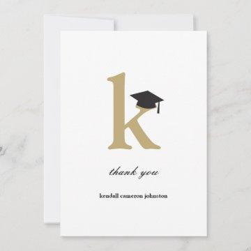 Classic Monogram Letter K Modern Graduation Cap Thank You Card