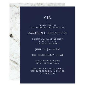 Classic Navy Blue and Marble | Graduation Party Invitation