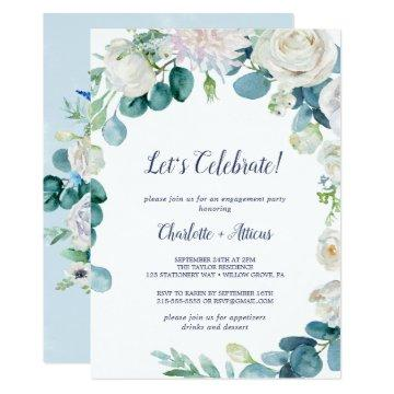 Classic White Flowers Let's Celebrate Invitation