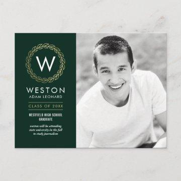 Classic Wreath EDITABLE COLOR Graduation Postcard