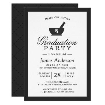 Classy Chic Pharmacy School Graduation Party Invitation