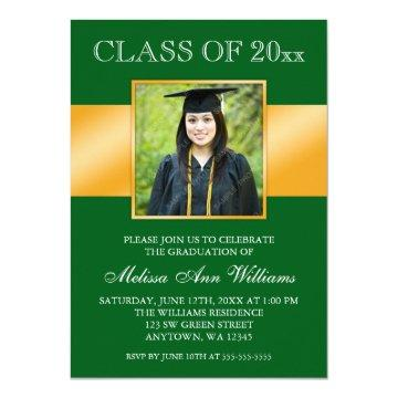 Classy Green Gold Photo Graduation Announcement