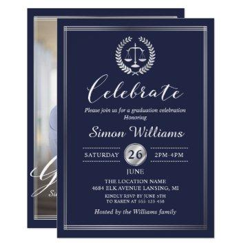 Classy Navy Blue Law School Graduation Party Photo Card