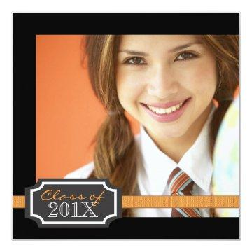 Classy Ribbon Square Photo Graduation Invitation