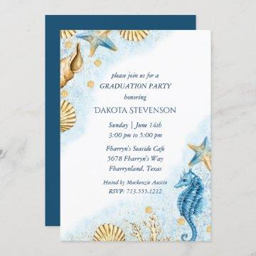 Coastal Chic | Modern Coral Reef Graduation Invitation