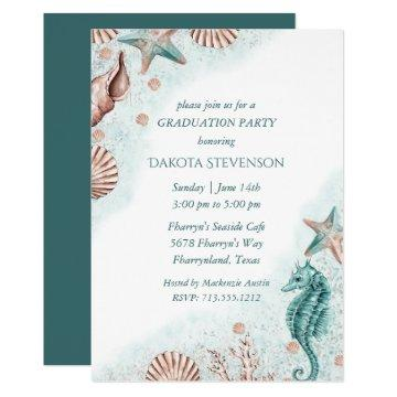 Coastal Chic | Teal and Coral Reef Graduation Invitation