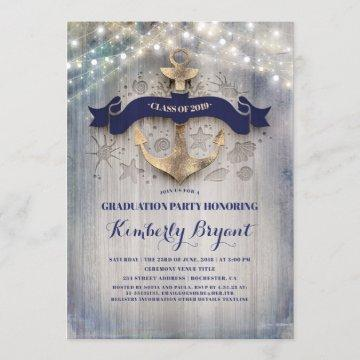 Coastal Nautical Golden Anchor Graduation Party Invitation