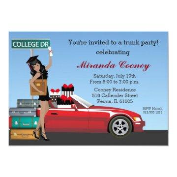College Trunk Party Going Away Graduation Invitation