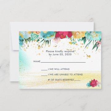 Colorful Sparkle Glitter RSVP Card