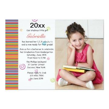 Colorful Year Photo Graduation Invitation