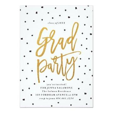 Confetti faux foil graduation party invitation