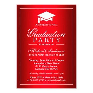 Cool Plain Red Gradient Look Graduate Graduation Invitation