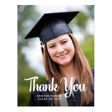 Cool Typography Graduation Thank You with Photo Postcard
