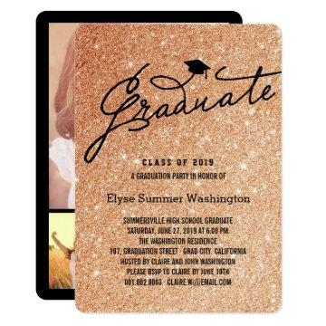 Copper Glitter Stylish Graduate Grad Party Invite