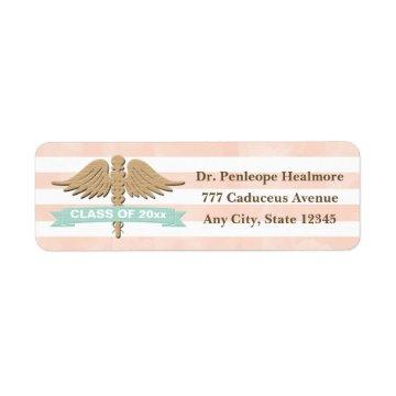 CORAL AND AQUA CADUCEUS GRADUATION LABEL