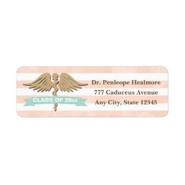 CORAL AND AQUA SINGLE SNAKE CADUCEUS GRADUATION LABEL