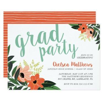Coral Modern Floral Graduation Party Invitation