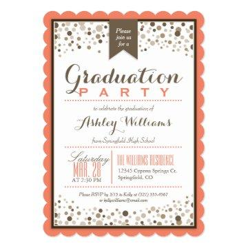 Coral Orange, White, & Taupe Graduation Party Card