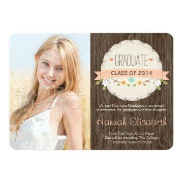 Coral Rustic Floral Graduation Photo Announcement