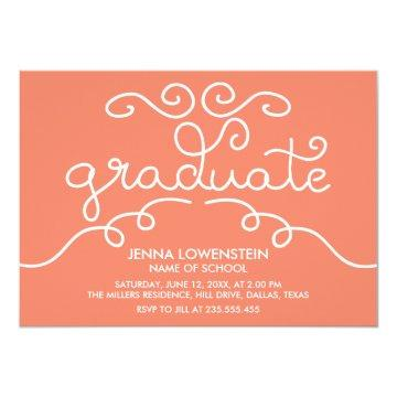 Coral Simple Casual Graduate Typography Card