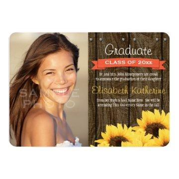 Coral Sunflower Graduation Announcement