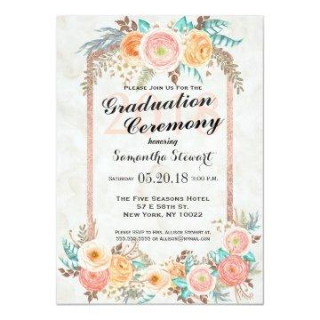 Coral Watercolor Flowers and Gold Graduation Card