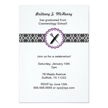 Cosmetology School Damask Graduation Invite purple