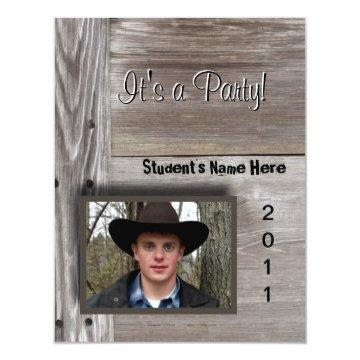 Country Barn wood open house for graduation Card