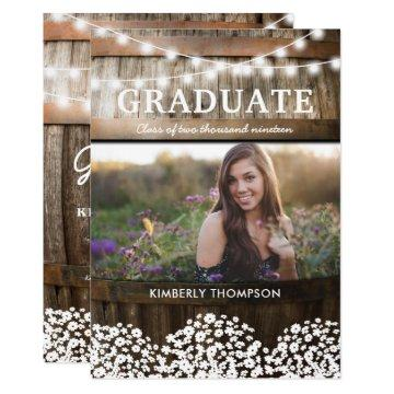 Country Rustic Photo 2018 Graduation Party Invitation