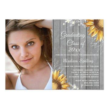 Country rustic sunflowers photo graduation party card