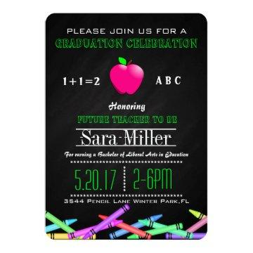 Crayon & Apple Teacher Graduation Invitation