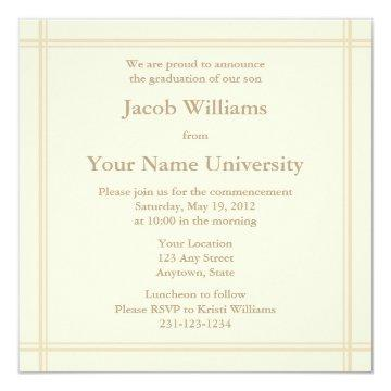 Cream Square Graduation Invitation or Announcement