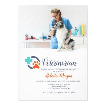 Cross and Paw Veterinarian Photo Graduation Party Invitation