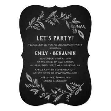 Curved Branches   Chalkboard Let's Party Card