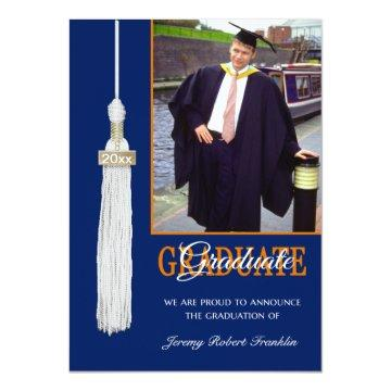 Custom Graduation Party Invite Blue/Orange Tassel
