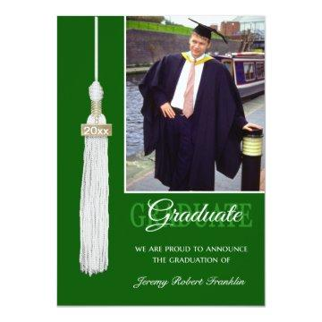 Custom Graduation Party Invite Green White Tassel