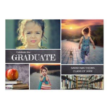 Custom Kindergarten Graduation Party Photo chalk Invitation