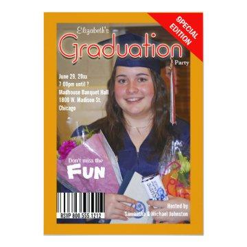 Custom Magazine Style Graduation Party Invite