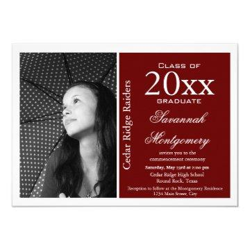 Custom Photo Graduation Announcements Maroon