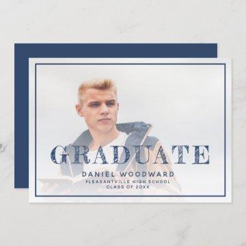 Custom Photo Navy Blue Graduation Announcement