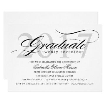 Custom Year Elegant Graduate Graduation Party Invitation