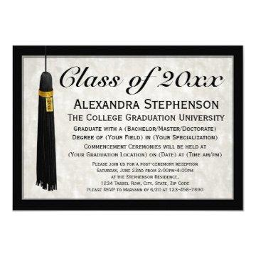 Custom Year Formal Tassel College Graduation Invitation