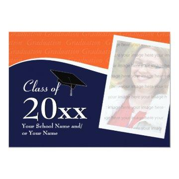 Customizable Blue and Orange Graduation