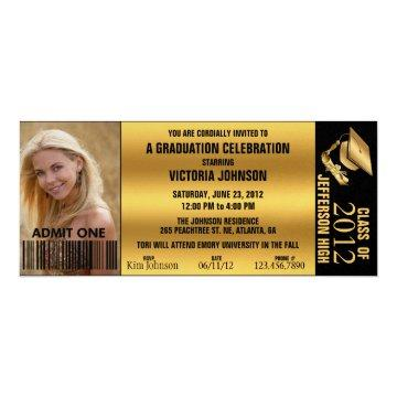 Customizable Graduation Admission Ticket Invite