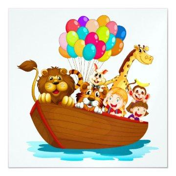 Cute Animals in Boat with Balloons
