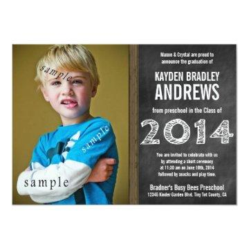 Cute Chalkboard Preschool 2014 Graduation Photo Invitation