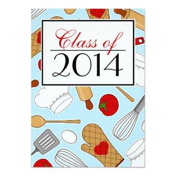 Cute Culinary School Graduation Invite Blue