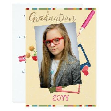 Cute Double Photo Middle School Graduation Invitation