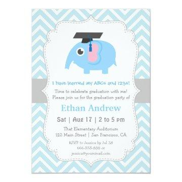 Cute Elephant Kids Kindergarten Graduation Party Card