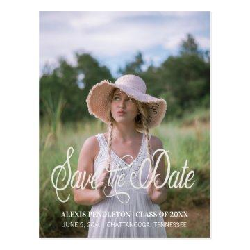 Cute Graduation Save the Date Girl Photo Postcard